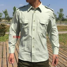 库存军迷长袖衬衣军绿色衬衫细条纹衬衣陆夏服衬衣男军训服上衣图片