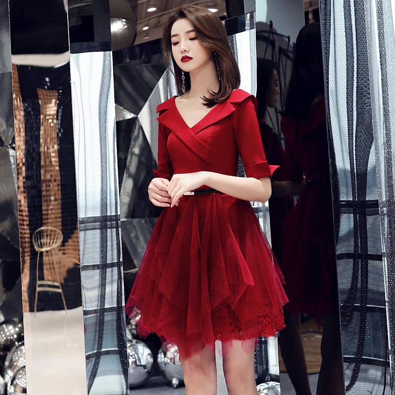 红色宴会晚礼服女v领优雅小个子裙11月30日最新优惠