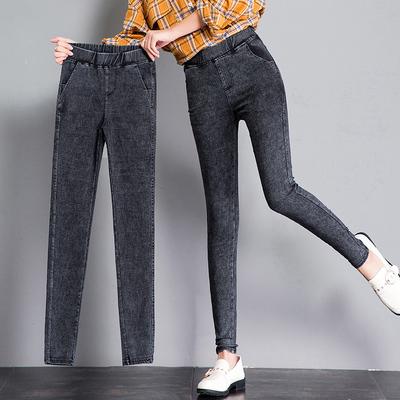打底裤女外穿2019新款加绒紧身魔术高腰显瘦仿牛仔小脚黑色春秋冬