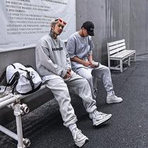 白鹤大人原创高街潮牌运动两件套宽松潮流休闲卫衣男春秋炸街套装