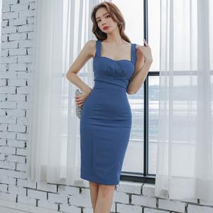 YF49474# 夏装新款韩版性感气质修身中长款吊带拉链包臀连衣裙女 服装批发女装直播货源