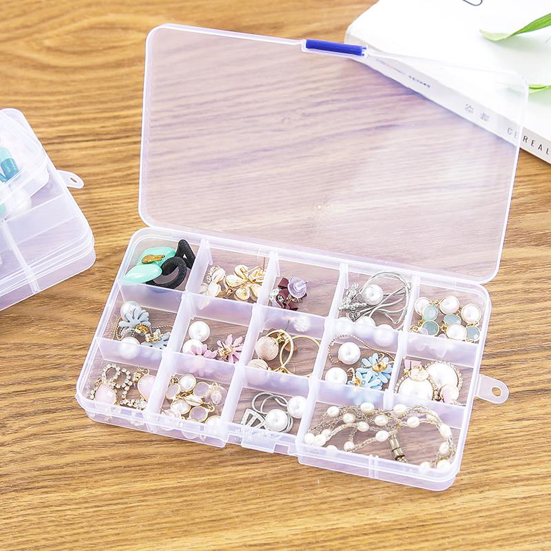 新款 10格透明塑料收纳盒多格子耳钉耳环耳线饰品盒首饰盒子 整理