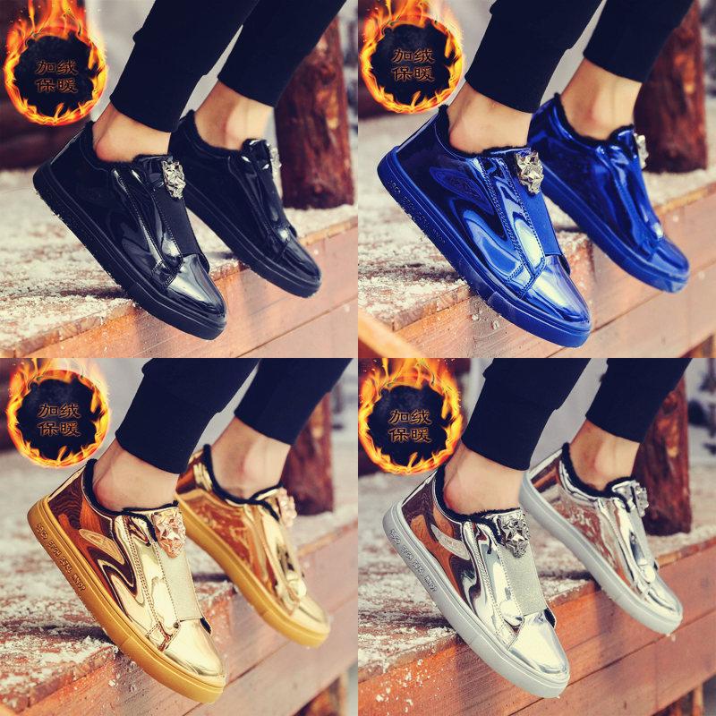 冬季休闲社会小伙男鞋子韩版潮流亮面板鞋加绒保暖小皮鞋精神潮鞋图片