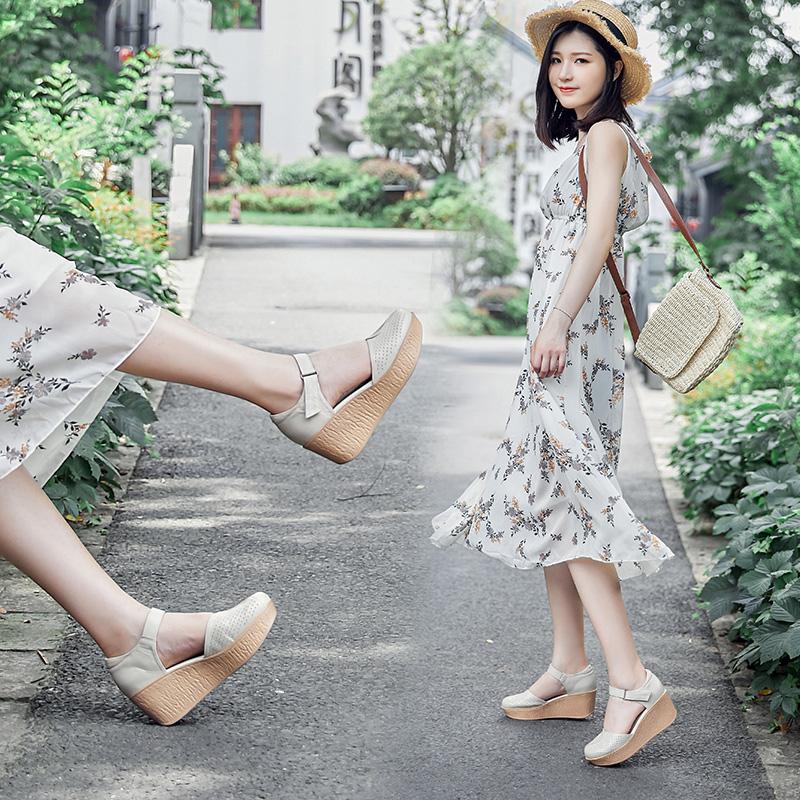 永佰利2019春夏新款原创镂空包头凉鞋女高跟圆头女士真皮休闲女鞋