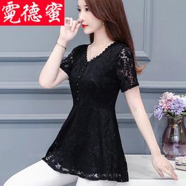 打底衫遮肚子上衣女小衫短袖2020新款中长款夏洋气显瘦雪纺蕾丝衫图片