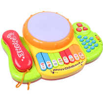 Childrens phone music Pat Drum childrens song lighting music electronic organ hand Pat drum baby early teach puzzle toys