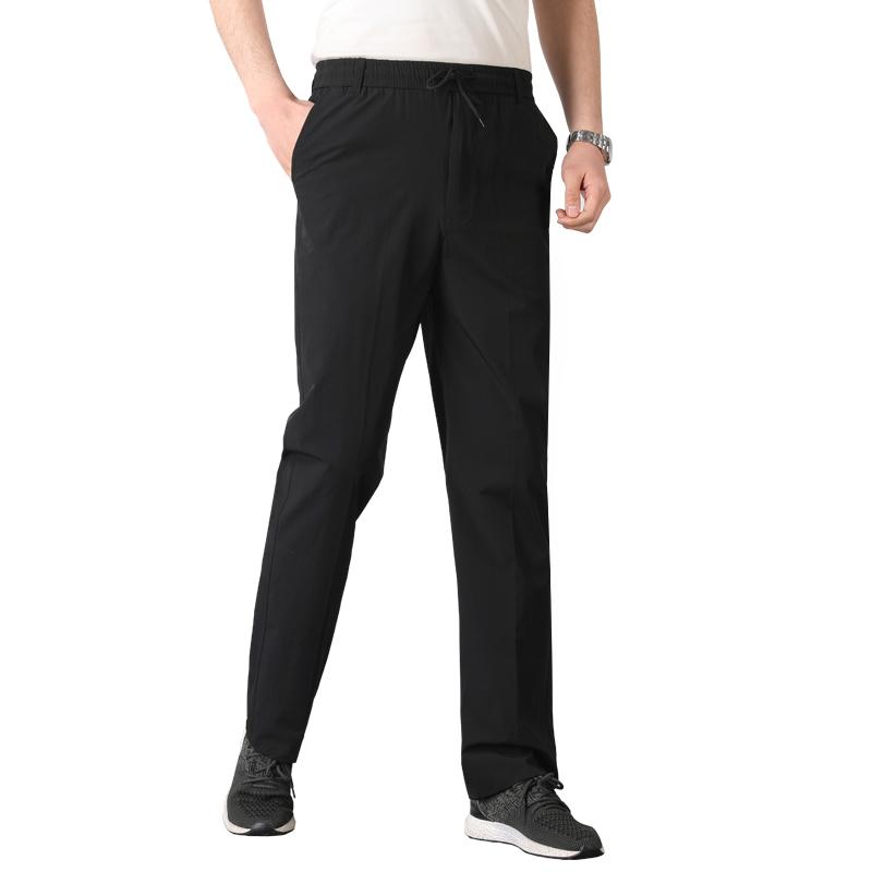 夏季薄款爸爸冰丝速干裤子男松紧腰休闲裤中老人运动裤宽松长裤子