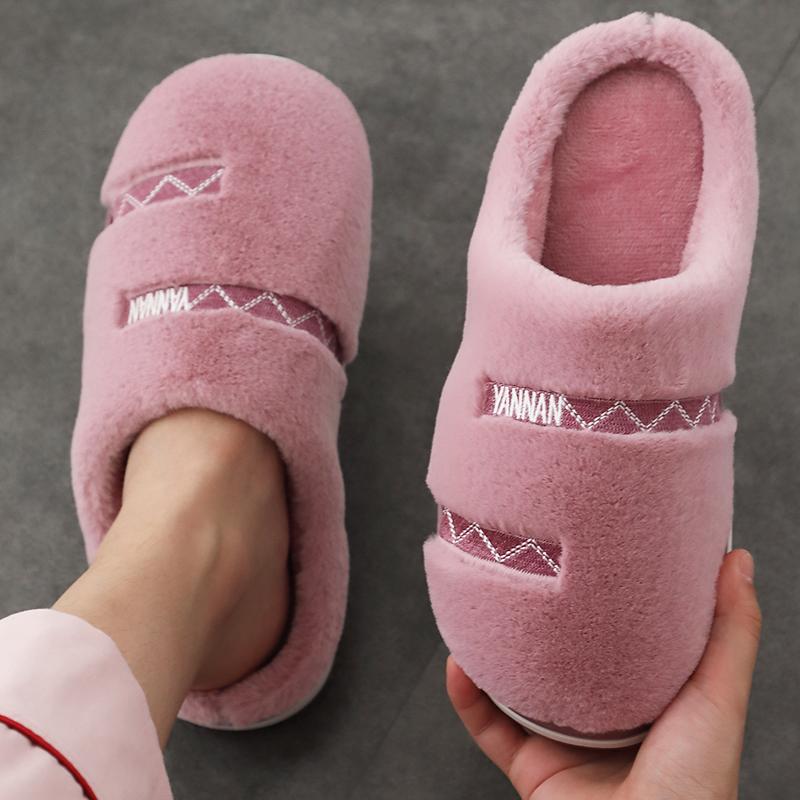 11-05新券棉拖鞋居家室内情侣毛毛拖鞋冬季男防滑女保暖厚底简约包跟月子鞋