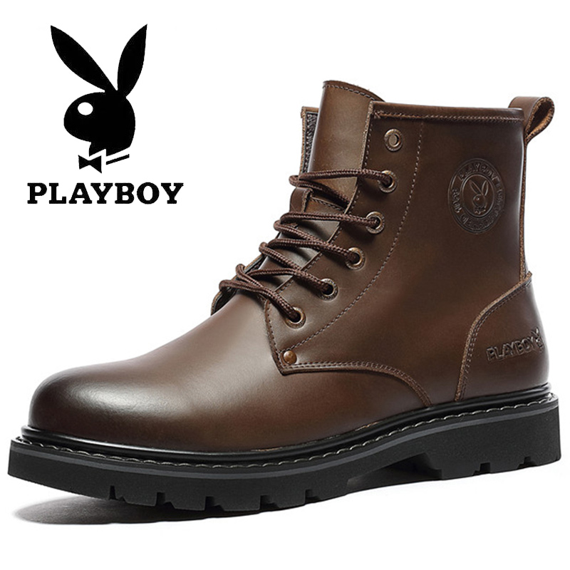 Playboy Martin boots men's winter men's leather army boots work clothes high top shoes and plush Boots Men's Snow Boots Men