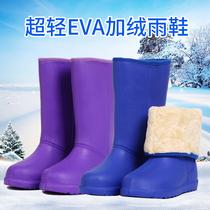 雨鞋女士中筒加棉加厚雨靴冬季时尚泡沫水鞋防滑超轻加绒水靴胶鞋