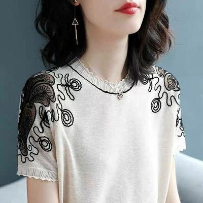 欧洲站圆领时尚蕾丝针织短袖t恤女2020新款休闲潮流甜美打底衫