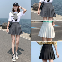 2019 new pleated skirt short skirt women's high waist black skirt in autumn and winter large fat mm gray A-line skirt