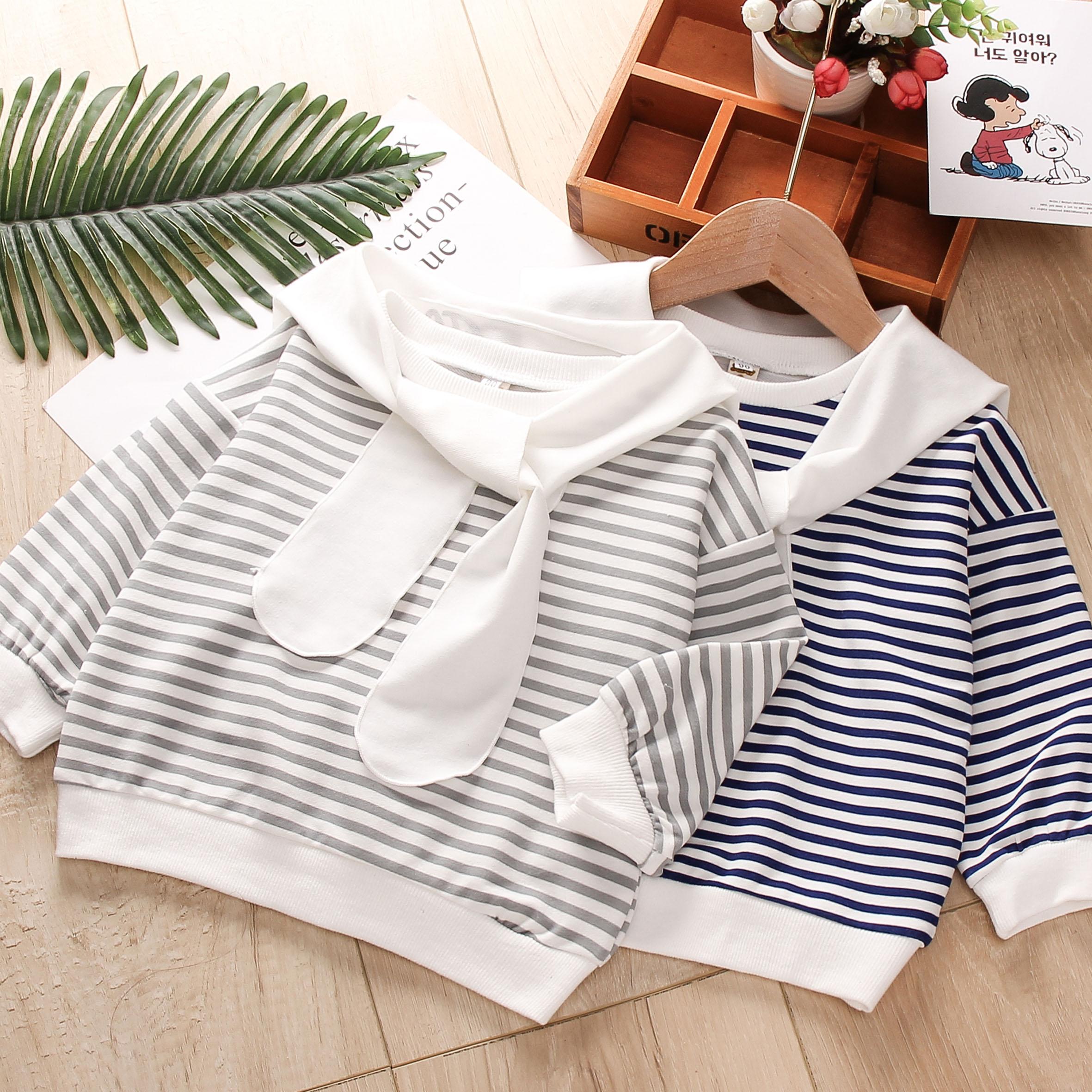 儿童卫衣2020春装新款韩版女宝宝海军风休闲T恤男童条纹百搭上衣