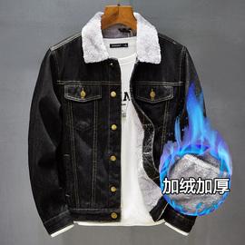 秋冬羊羔绒毛毛领牛仔外套男加绒加厚保暖衣服加肥加大码胖子夹克