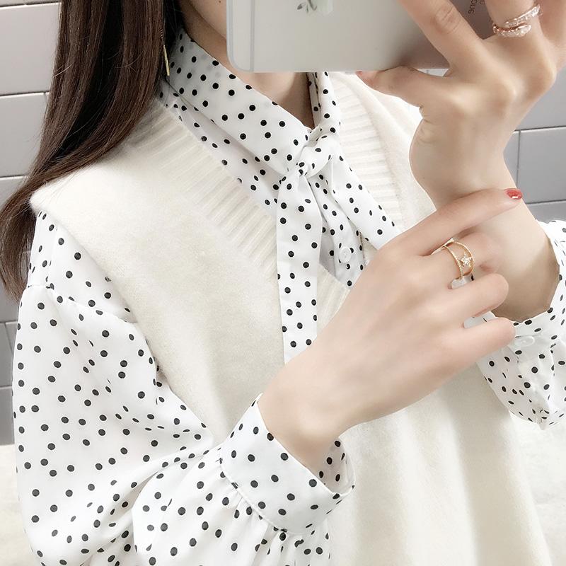 10月20日最新优惠2019秋装新款很仙的两件套波点衬衫