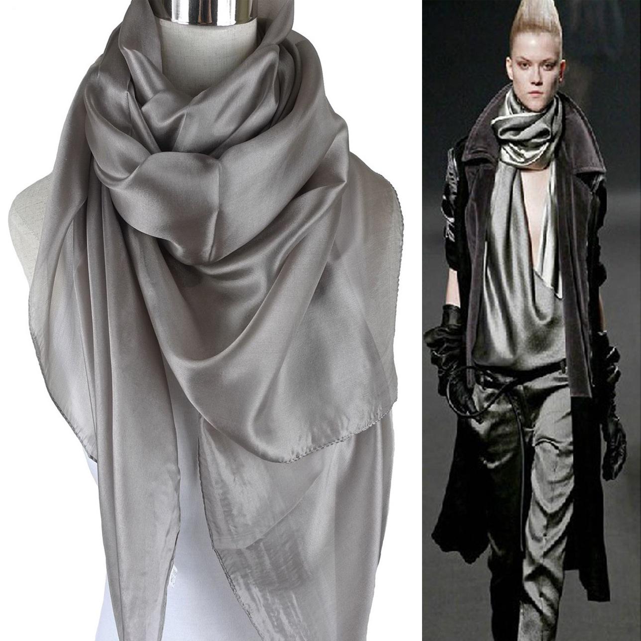 11-06新券黑色纯色丝巾桑蚕丝长款灰色披肩