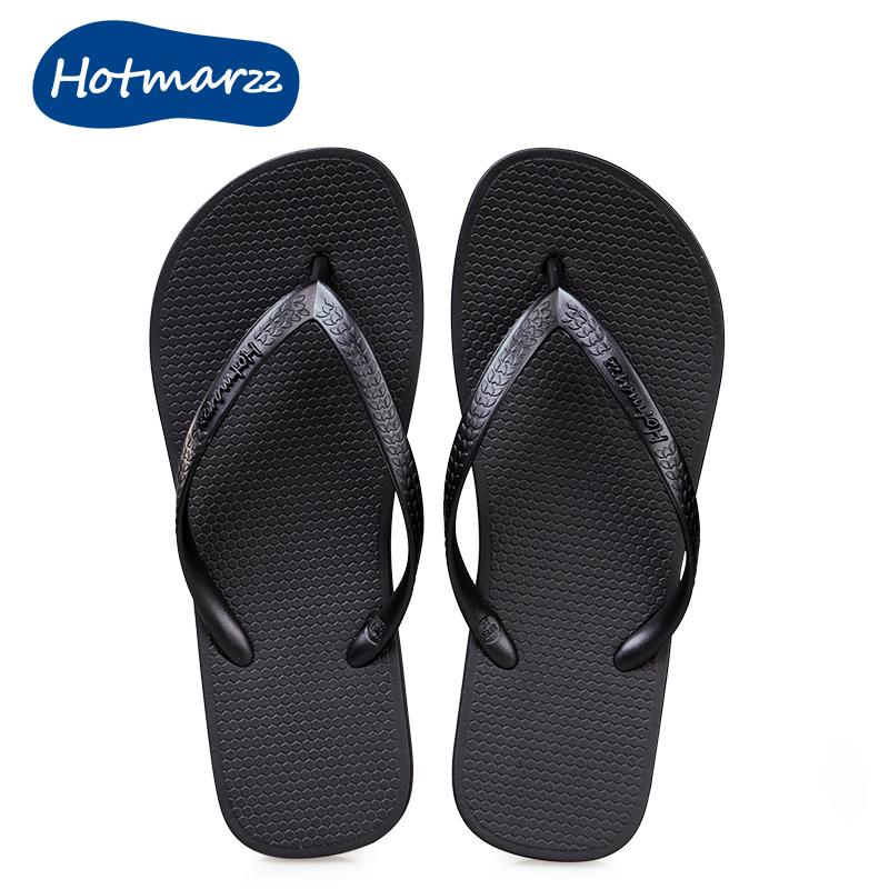 hotmarzz拖鞋女夏季室内夹脚夹板浴室洗澡防滑凉拖平底黑色人字拖