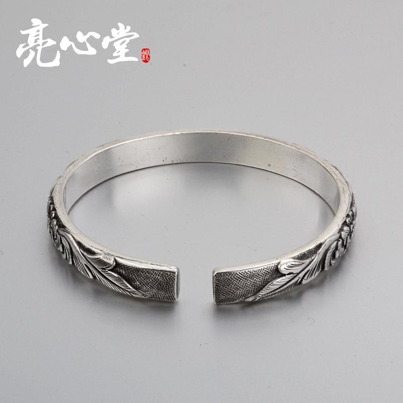 亮心堂银手镯999纯银女足银简约时尚送情侣女朋友生日饰品礼物