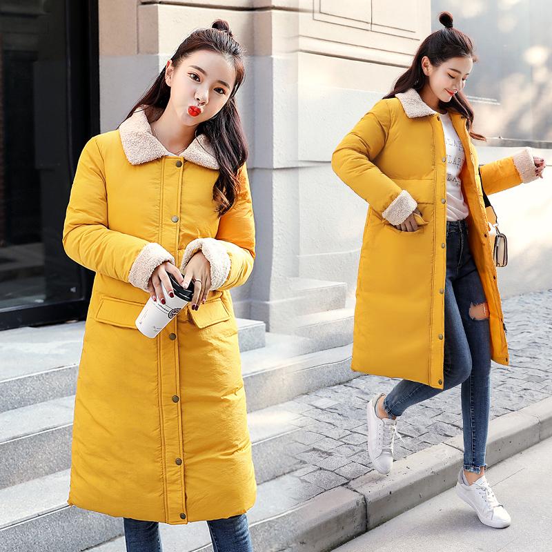 实拍18新款羽绒棉服女韩版中长款羊羔毛时尚学生棉衣修身外套8703