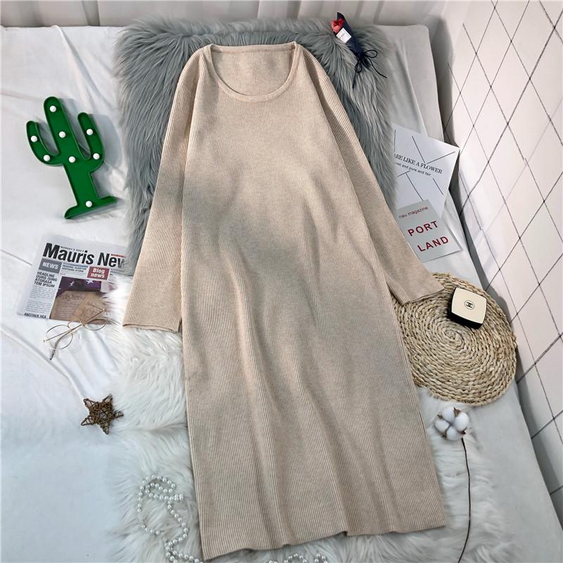 针织连衣裙中长款毛衣裙过膝配大衣的裙子秋裙新款女长袖秋冬内搭