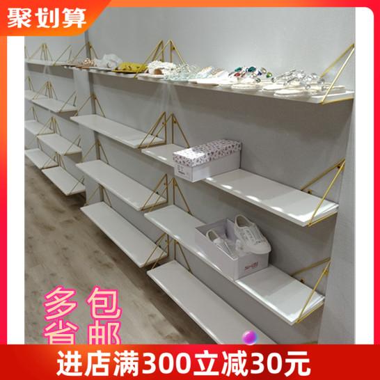 金色上墙鞋店鞋架服装店美甲店置物展示架店铺包包架鞋货架陈列架图片