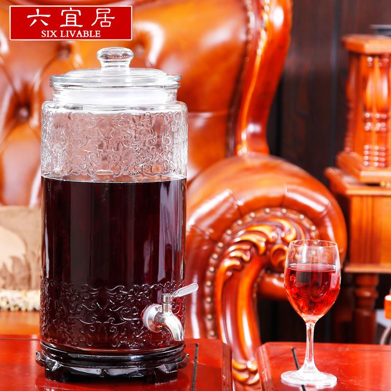 六宜居雕花加厚泡酒玻璃瓶釀酒發酵素密封罐酒壇泡酒瓶帶龍頭
