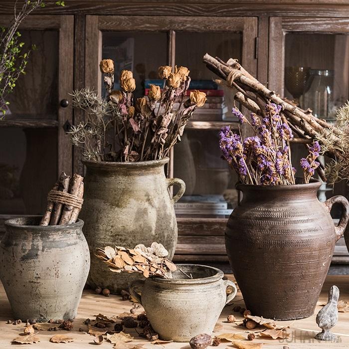 掬涵 手工粗陶陶罐坛子花器花瓶花盆红陶黑陶土陶做旧仿古出土