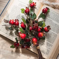 掬涵 玫瑰果把束 仿真植物果实装饰摆件花艺插花配材美式艺术