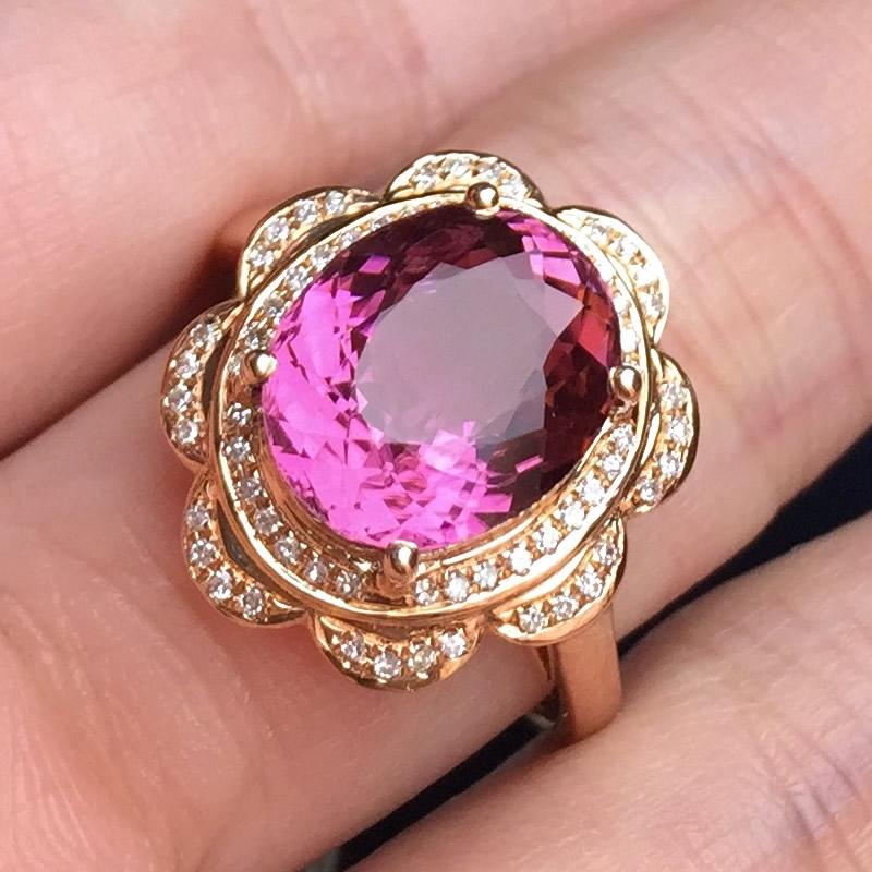 【腾龙宝石】18k豪华镶嵌紫红色碧玺戒指 红色椭圆碧玺 3.40克