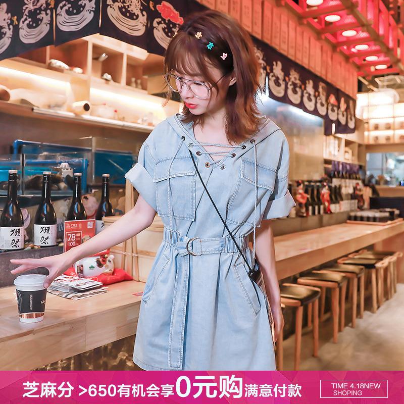 牛仔连衣裙夏季短袖薄款韩版收腰2020新款连帽中长款宽松卫衣裙女图片