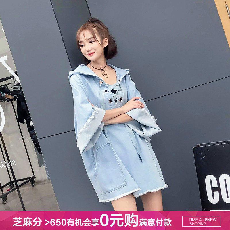 2020牛仔连衣裙女夏季新款韩版连帽宽松中长款短袖薄款卫衣裙大码图片
