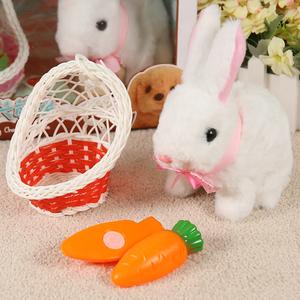 兔子毛绒玩具仿真电动玩偶动物男宝会走的小白兔女孩新年礼物儿童