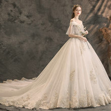 Wedding dress girl 2019 bride small tail luxury Sen tremble the same French Princess shoulder light