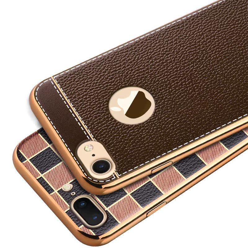 鑫魔王蘋果7鍍金邊框矽膠軟殼iphone 7薄手機殼保護套 商務潮
