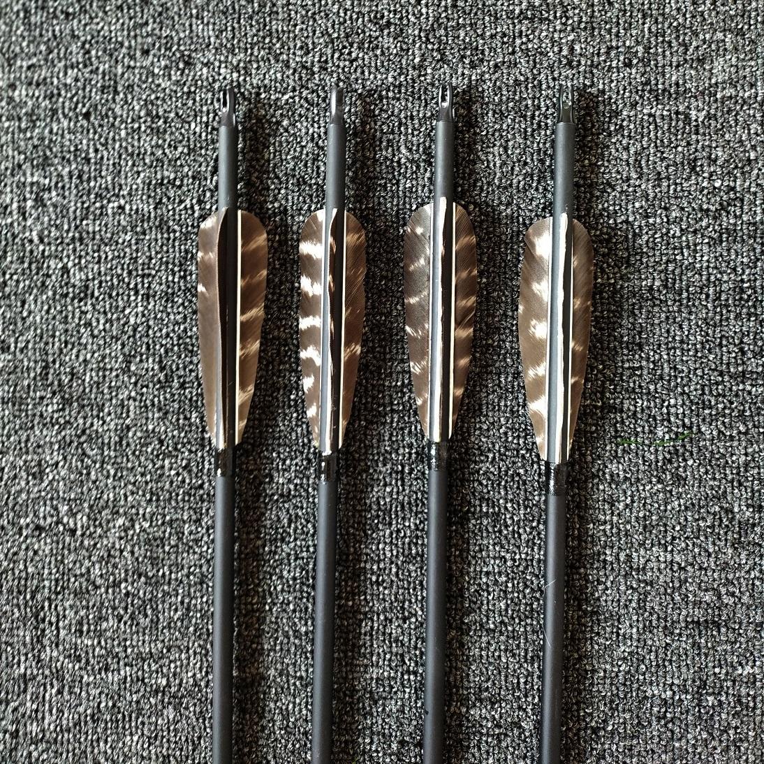 真羽碳箭 美猎传统弓用箭 6.2火鸡真羽箭训练比赛用箭 清羽箭