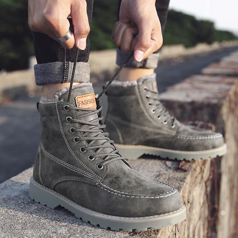 冬季韩版潮流男鞋子加绒保暖棉鞋高帮马丁靴男士雪地靴中帮棉靴子