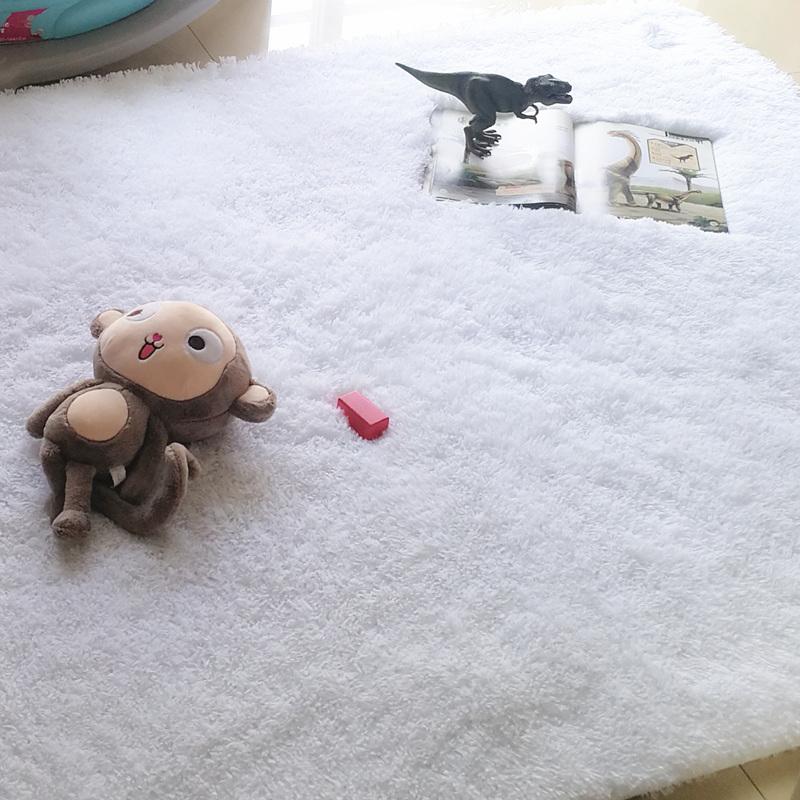 11月08日最新优惠纯白长毛绒客厅茶几卧室房间地毯床前床边拍照直播间背景定制满铺