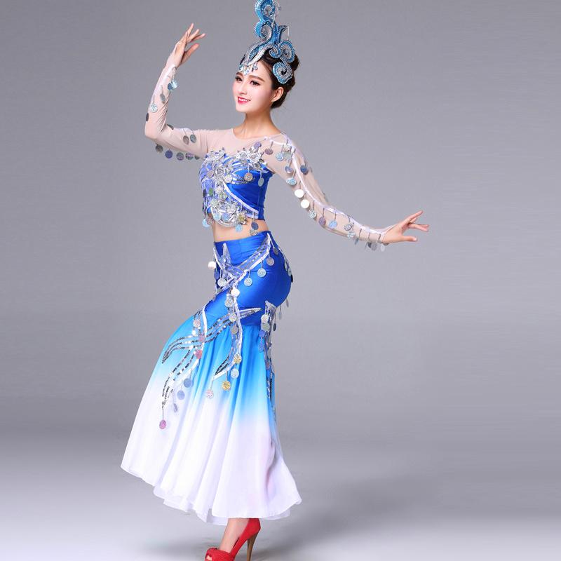 阿幸傣族舞蹈服装演出服水之灵舞蹈孔雀舞女成人表演服亮片鱼尾裙