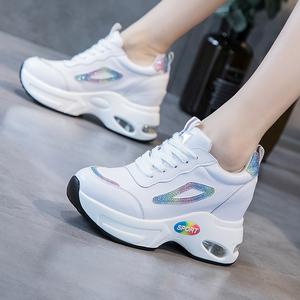 内增高小白鞋女2020春新款百搭真皮运动休闲鞋加绒显瘦老爹鞋女