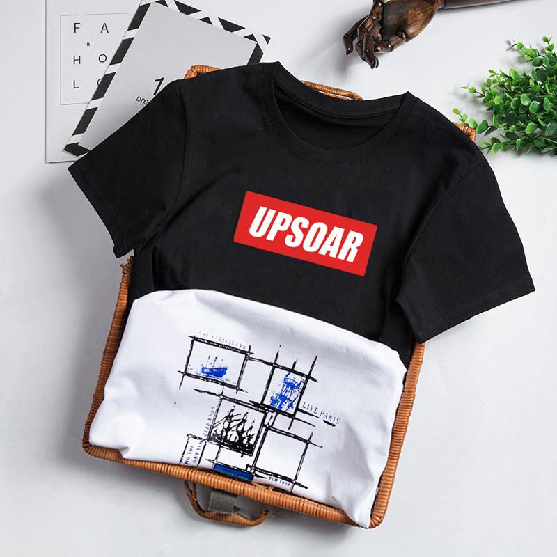 男士短袖T恤纯棉圆领修身青少年潮流体桖学生印花夏季衣服半袖衫