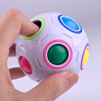 益智玩具智力儿童减压魔方无限彩虹球创意手指23迷你足球异形宝宝
