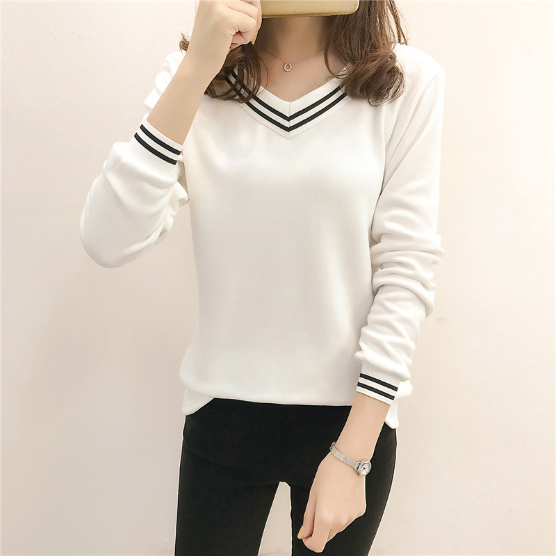 Womens long sleeve autumn wear new Korean version of INS fashion slim fitting T-shirt