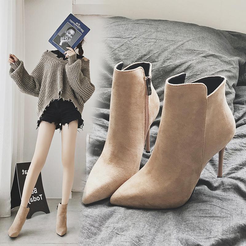 秋冬季新款韩版超高跟女鞋子小短靴百搭细跟尖头网红瘦瘦靴子2018