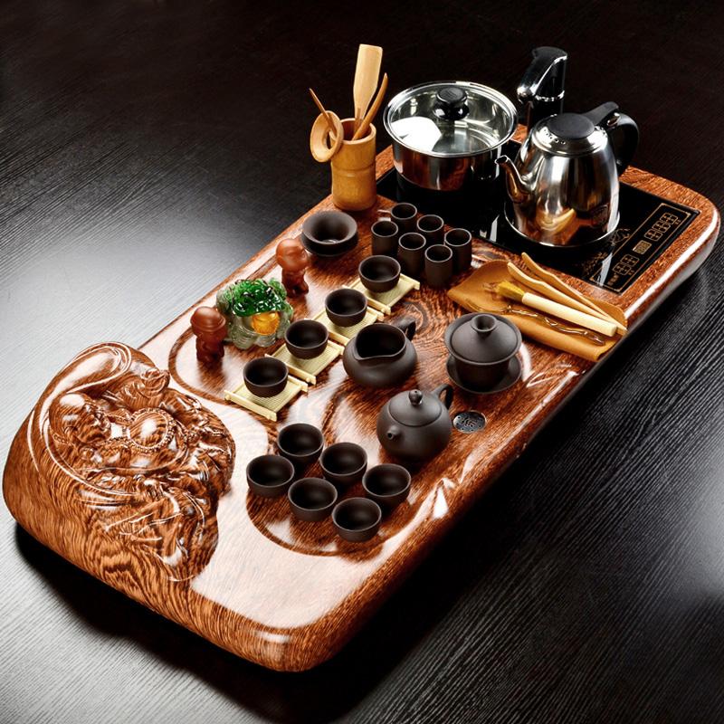 問瓷齋茶具套裝 整套科技木茶盤紫砂玻璃功夫茶具浮雕冰裂套裝