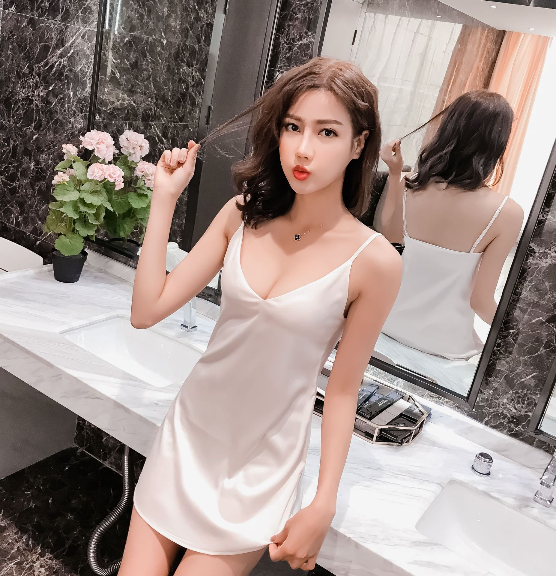 Suspender skirt vest women summer silk dress deep V suspender skirt women summer real silk home wear