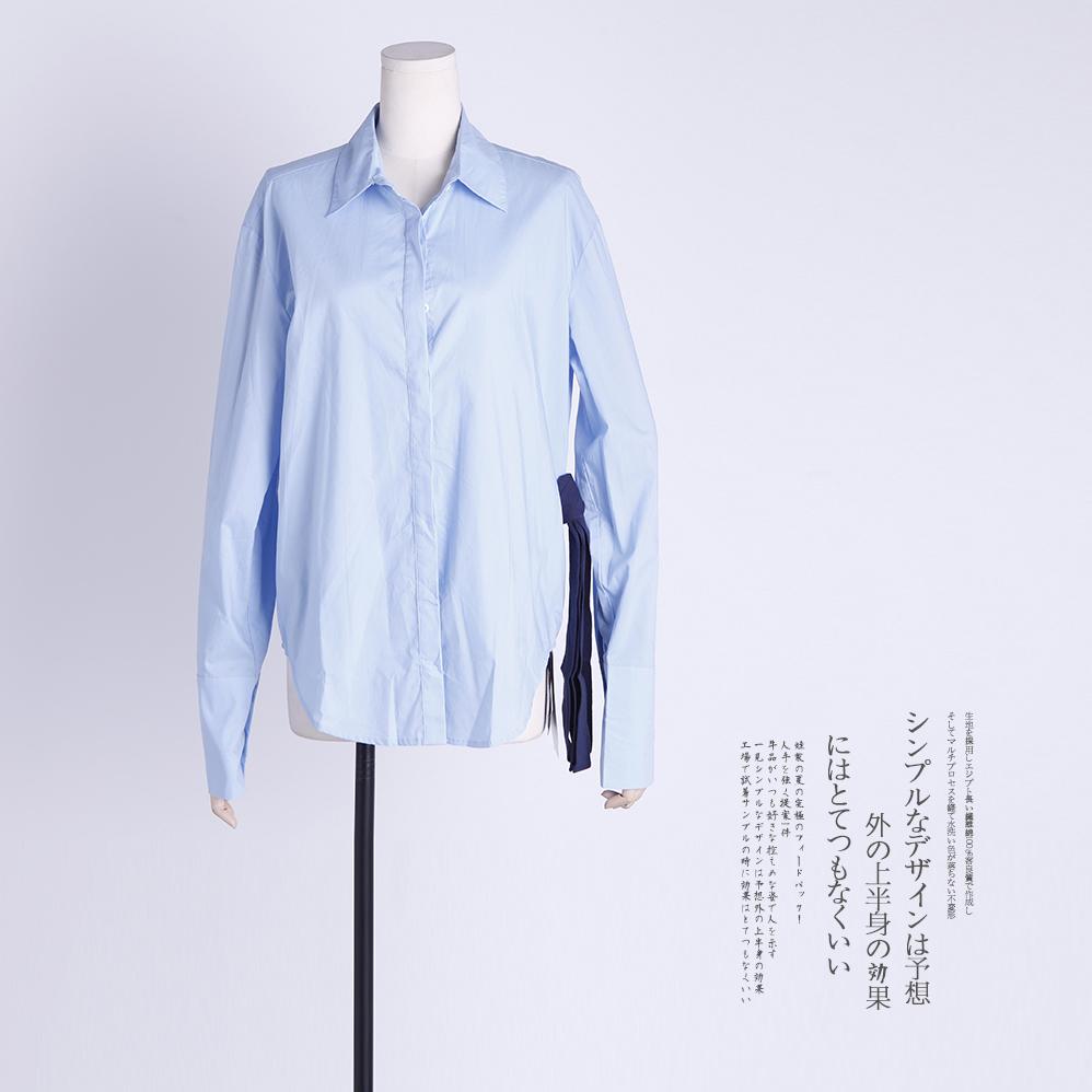 【网红管子同款】37056 R撞色织带多种穿法蓝衬衫