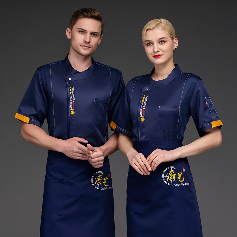 French hotel chefs short sleeve Italian restaurant Bakers work clothes cake clothes flower mounting uniform summer