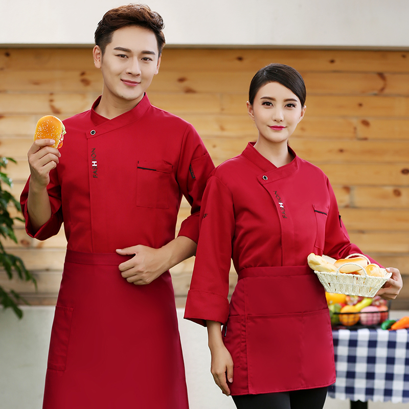 Hot pot shop chefs clothes long sleeve barbecue uniform Bakers work clothes Bakers autumn and winter clothes cake shop tooling