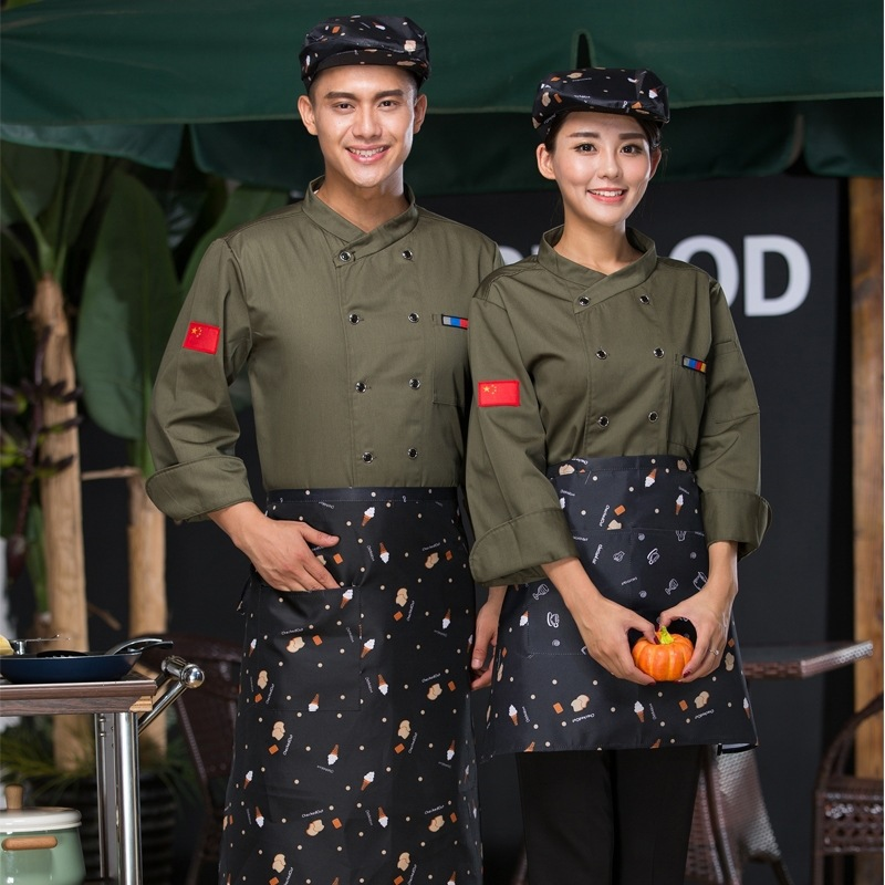 Farm barbecue cooks work clothes custom printing autumn and winter long sleeve Bakers uniform coffee makers work clothes cake clothes