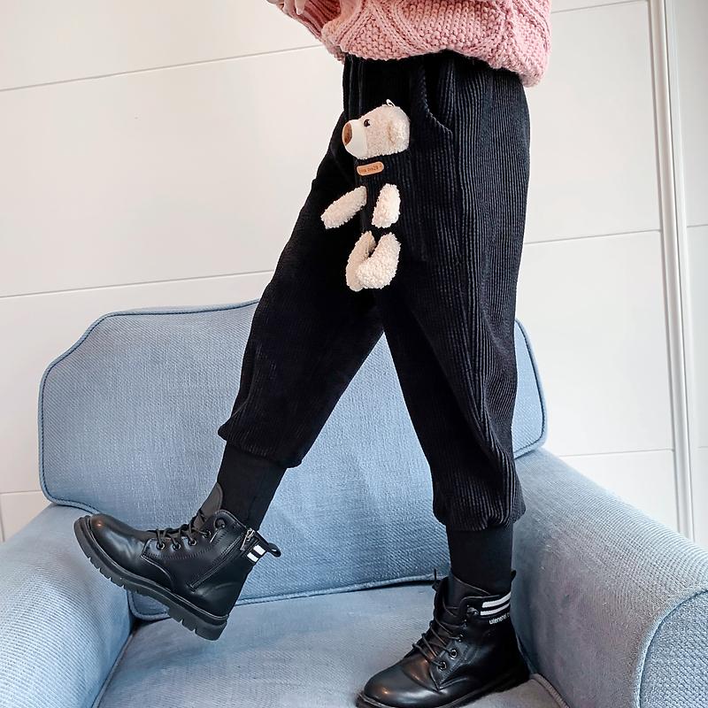 女童加绒加厚2020新款灯芯绒裤子